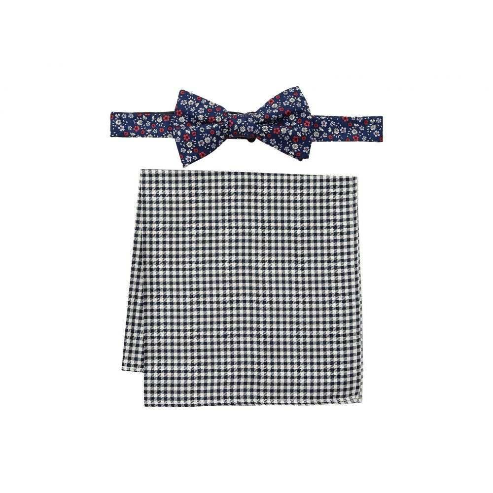 トミー ヒルフィガー メンズ ハンカチ・チーフ【Floral and Gingham Pre-Tied Bow Tie and Pocket Square Set】Navy