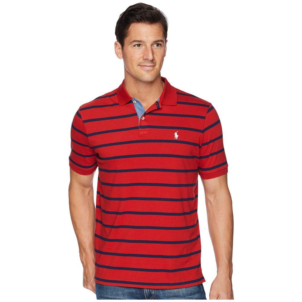 ラルフ ローレン メンズ トップス ポロシャツ【Classic Fit Yarn-Dyed Striped Knit Polo】Red Beret/Cruise Navy