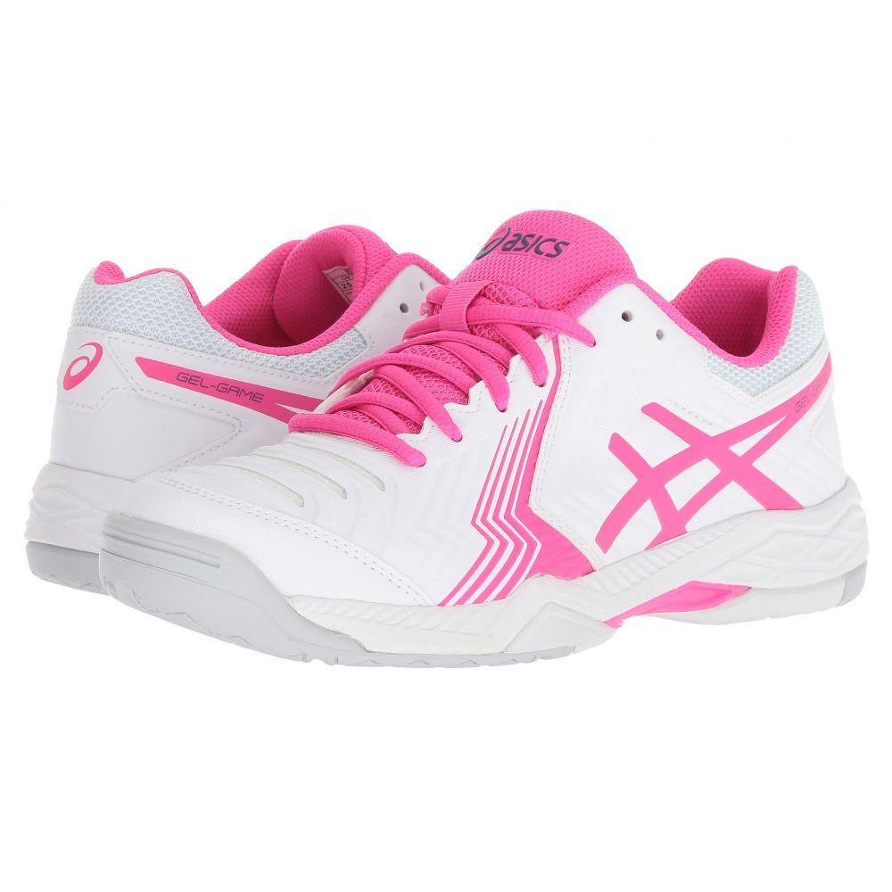 アシックス レディース テニス シューズ・靴【Gel-Game 6】White/Pink Glo