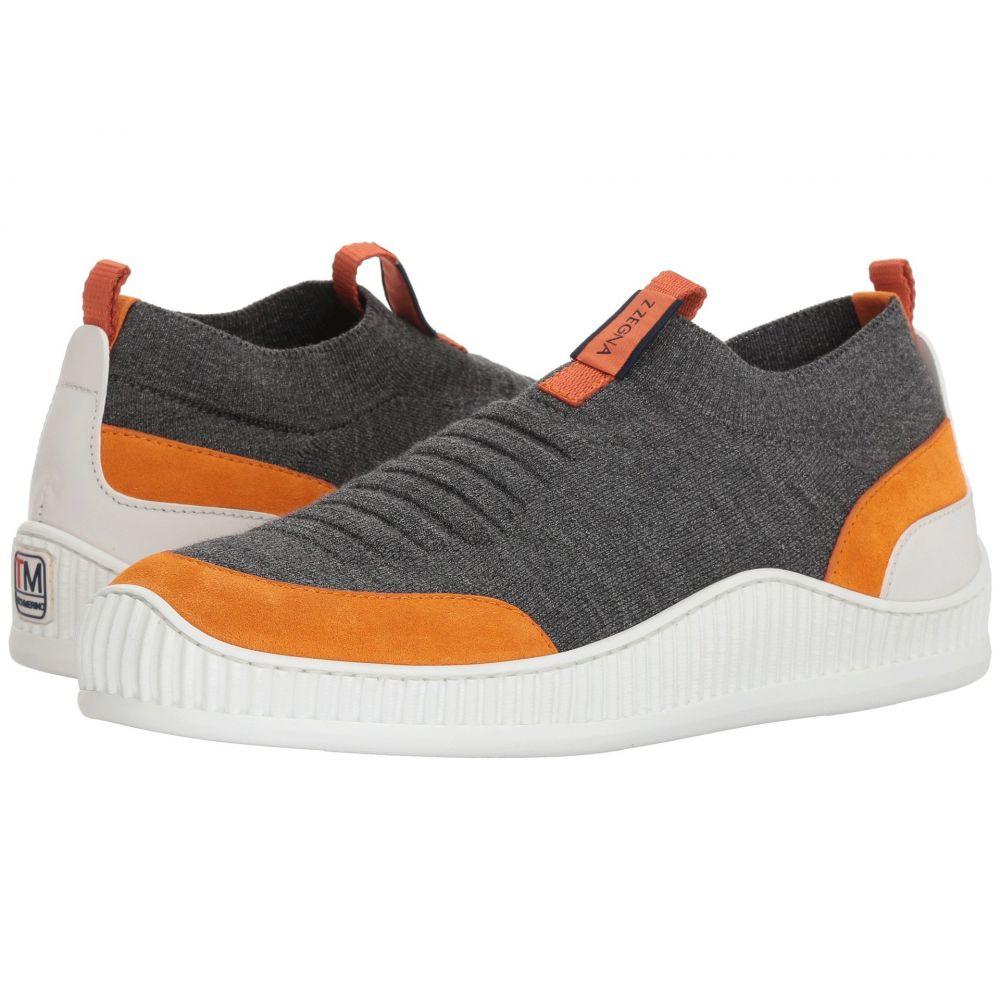 ジーゼニア メンズ シューズ・靴 スリッポン・フラット【Techmerino Wave Slip-On Sneaker】Grey/Orange