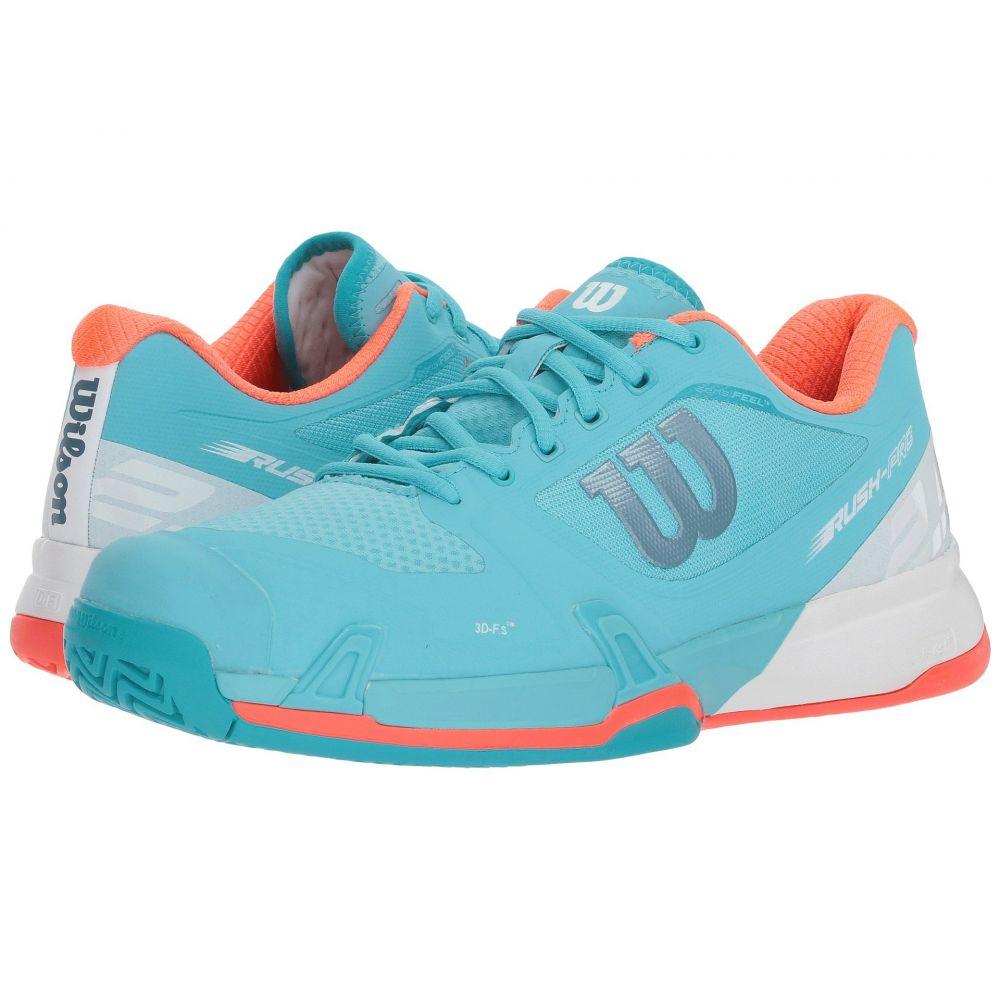 ウィルソン レディース テニス シューズ・靴【Rush Pro 2.5】Blue Curacao/White/Fiery Coral