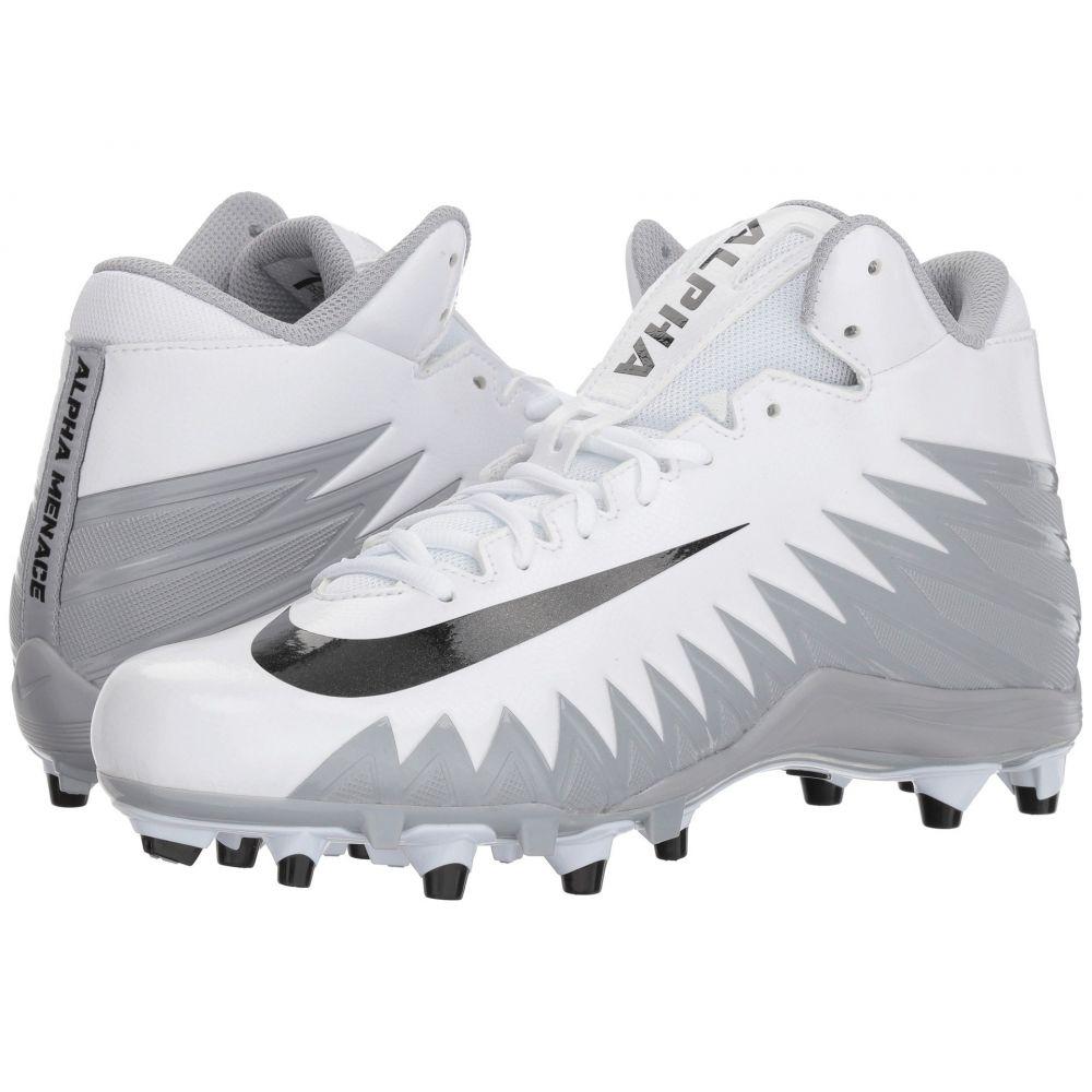 ナイキ メンズ アメリカンフットボール シューズ・靴【Alpha Menace Varsity Mid】White/Black/Metallic Silver/Wolf Grey