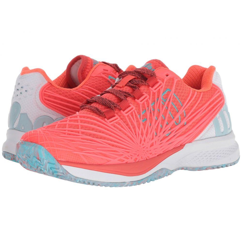 ウィルソン Wilson レディース テニス シューズ・靴【Kaos 2.0】Fiery Coral/White/Blue Curacao
