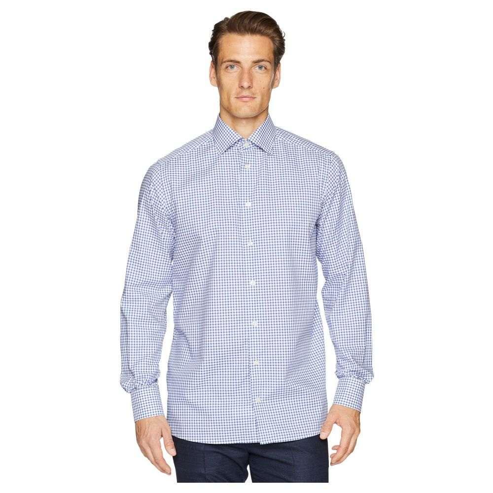 イートン Eton メンズ トップス シャツ【Contemporary Fit Stretch Grid Check Shirt】Blue
