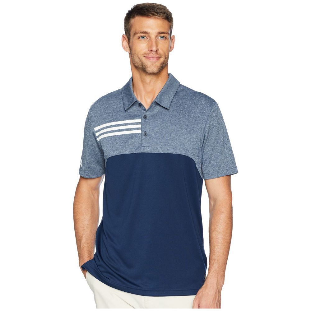 アディダス adidas Golf メンズ ゴルフ トップス【3-Stripes Heather Block Polo】Collegiate Navy Heather
