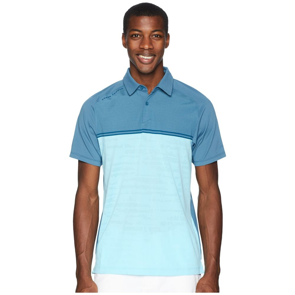 アンダーアーマー Under Armour Golf メンズ ゴルフ トップス【Threadborne Calibrate Polo】Static Blue/Techno Teal/Techno Teal