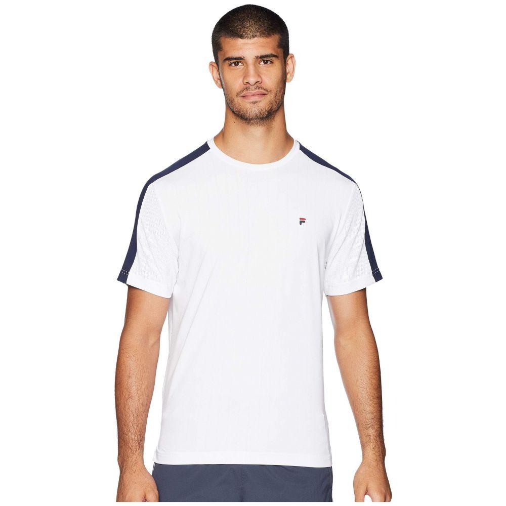 フィラ Fila メンズ テニス トップス【Heritage Tennis Mesh Back Crew】White/Navy/Chinese Red