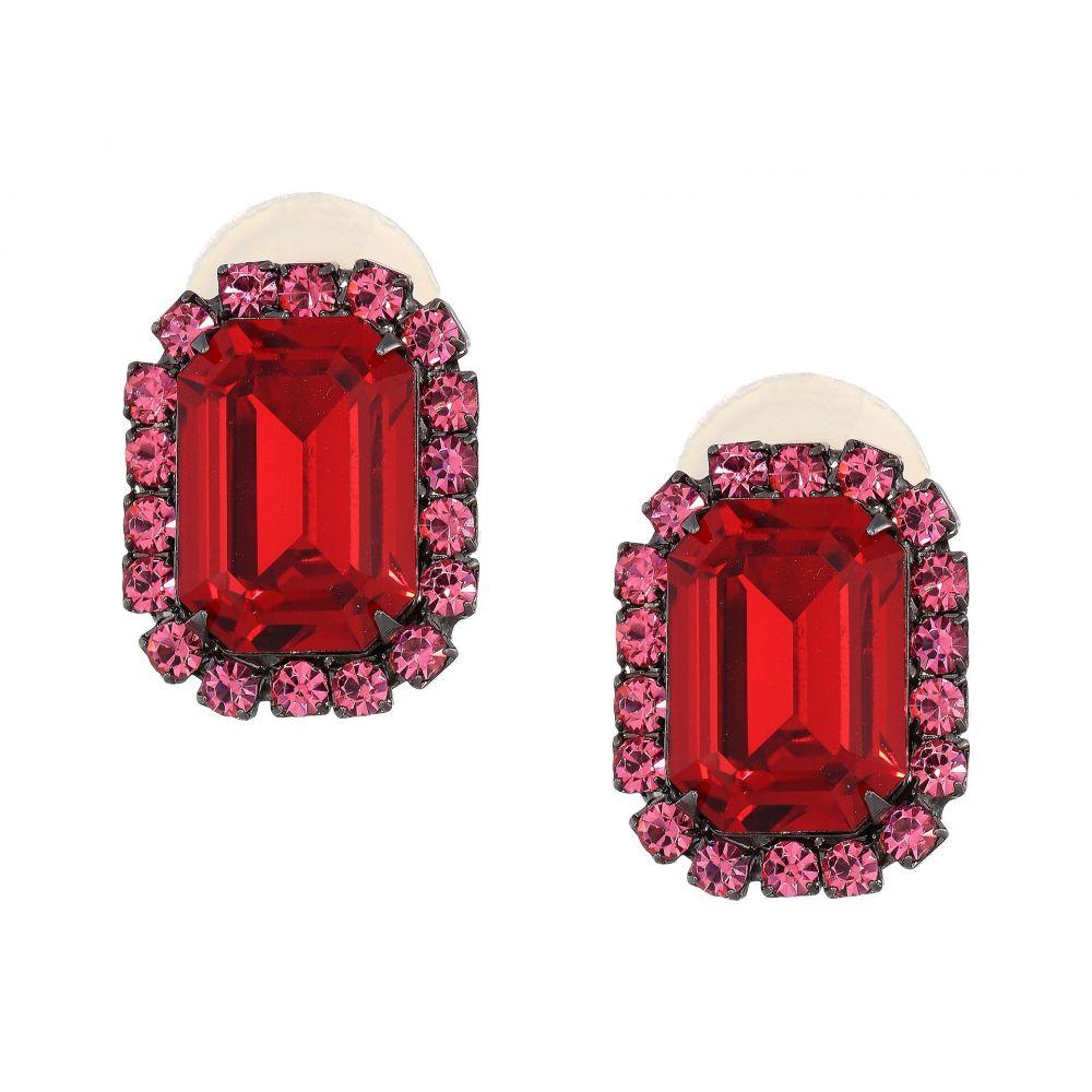 ケネスジェイレーン Kenneth Jay Lane レディース ジュエリー・アクセサリー イヤリング・ピアス【Gunmetal/Pink/Ruby Center Rectangle Clip Earrings】Gunmetal/Pink/Ruby