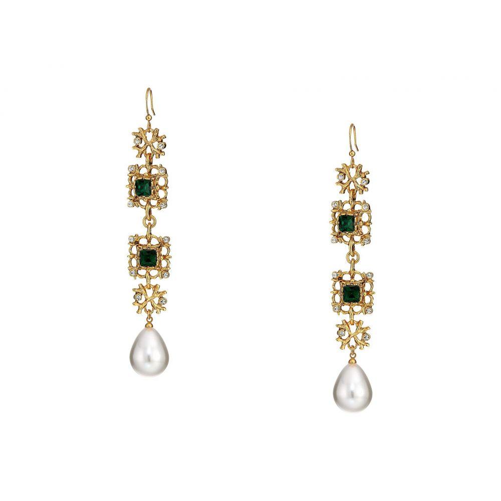 ケネスジェイレーン Kenneth Jay Lane レディース ジュエリー・アクセサリー イヤリング・ピアス【Antique Gold/Crystal/Emerald/White Pearl Fishhook Earrings】Crystal/Emerald/Pearl