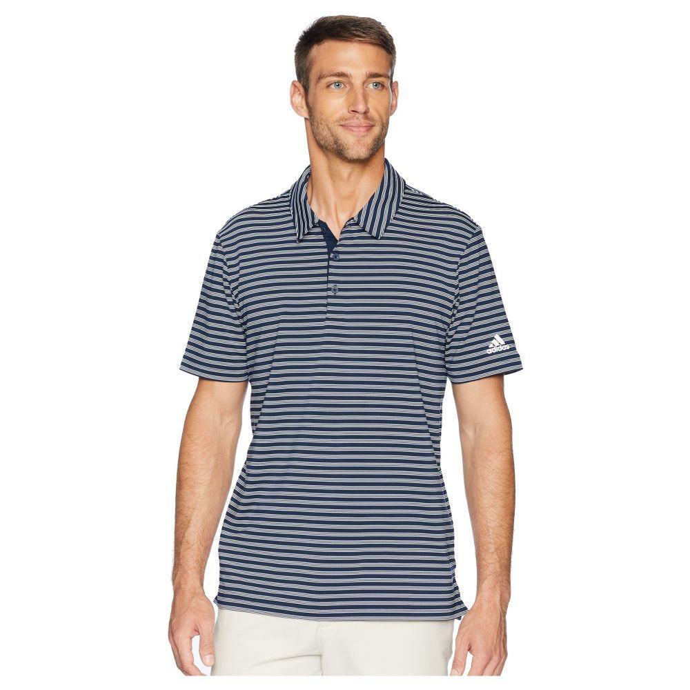 アディダス adidas Golf メンズ ゴルフ トップス【Ultimate 2-Color Stripe Polo】Collegiate Navy/White