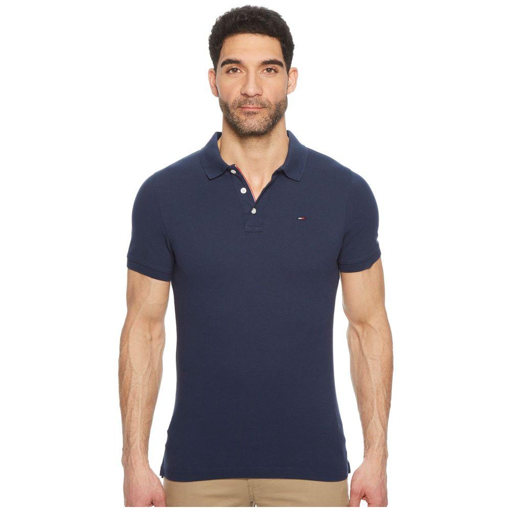 トミー ジーンズ Tommy Jeans メンズ トップス ポロシャツ【Slim Fit Flag Polo Shirt】Black Iris