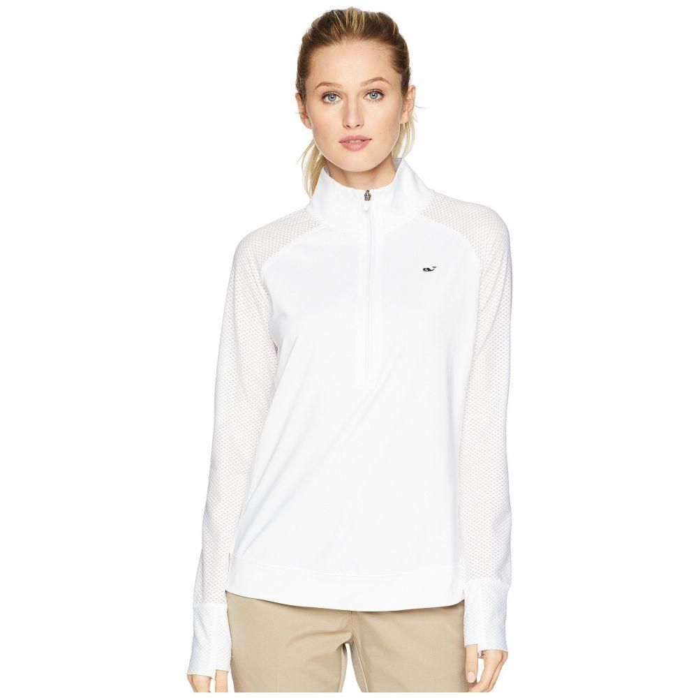 ヴィニヤードヴァインズ Vineyard Vines Golf レディース ゴルフ トップス【Pieced Sport 1/2 Zip Pullover】White Cap
