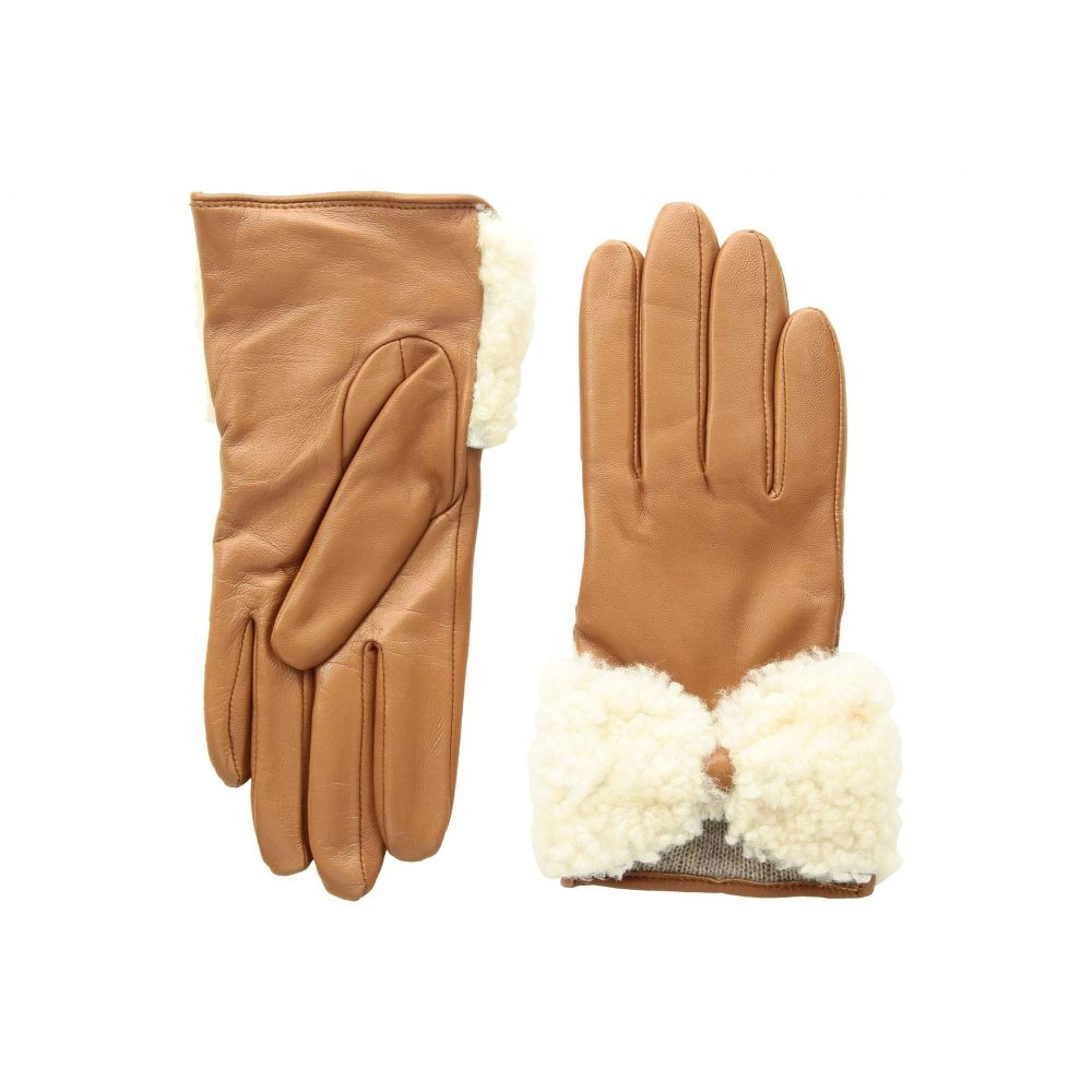 アグ UGG レディース 手袋・グローブ【Tech Leather Gloves with Sheepskin Bow】Chestnut