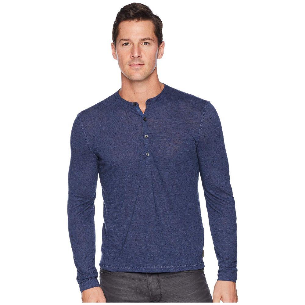 ジョン バルベイトス John Varvatos Star U.S.A. メンズ トップス 長袖Tシャツ【Long Sleeve Henley w/ Coverstitch】Blue
