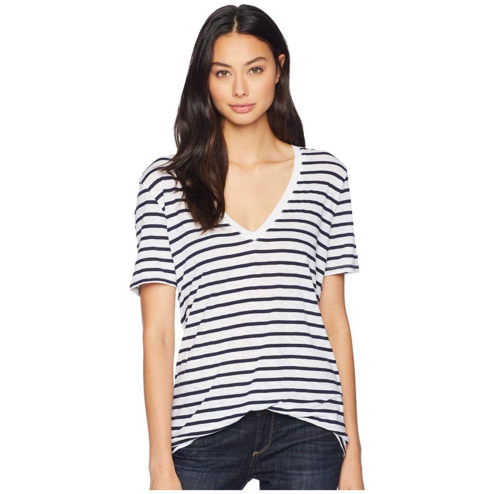 スプレンディッド Splendid レディース トップス Tシャツ【Short Sleeve Slub V-Neck】Navy/Off-White
