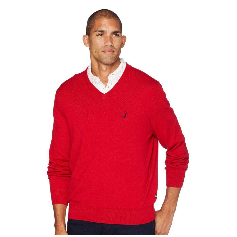 ノーティカ Nautica メンズ トップス ニット・セーター【12 Gauge Jersey V-Neck Sweater】Nautica Red