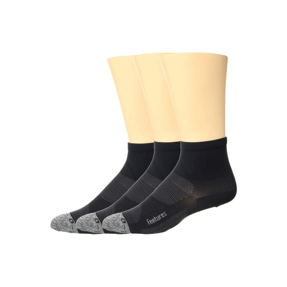 人気アイテム フィーチャーズ Feetures レディース インナー・下着 ソックス【Elite Ultra Light Quarter 3-Pair Pack】Black, 河辺村 c2cd4159