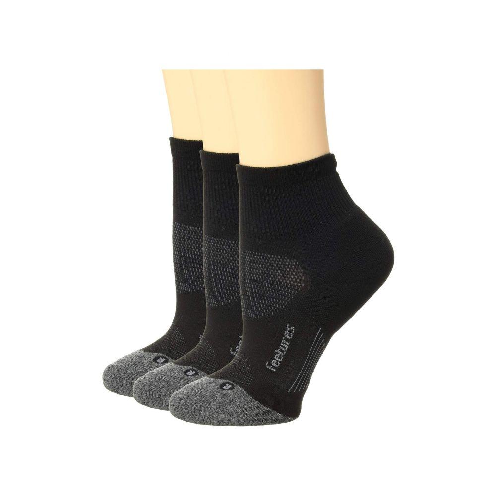 一番の フィーチャーズ Feetures レディース インナー・下着 ソックス【Elite Max Cushion Quarter 3-Pair Pack】Black, 堀江薬局 c5f43ec2