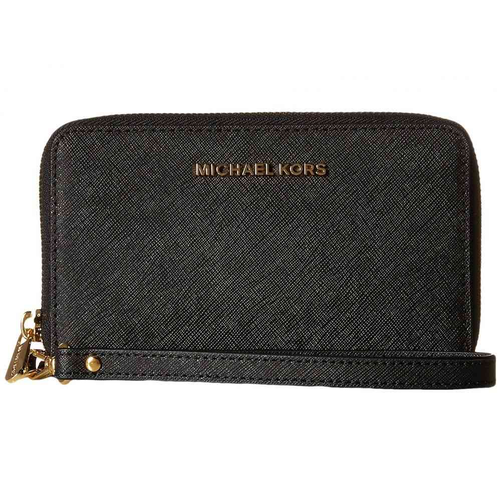 マイケル コース MICHAEL Michael Kors レディース スマホケース【Jet Set Travel Large Flat Multifunction Phone Case】Black