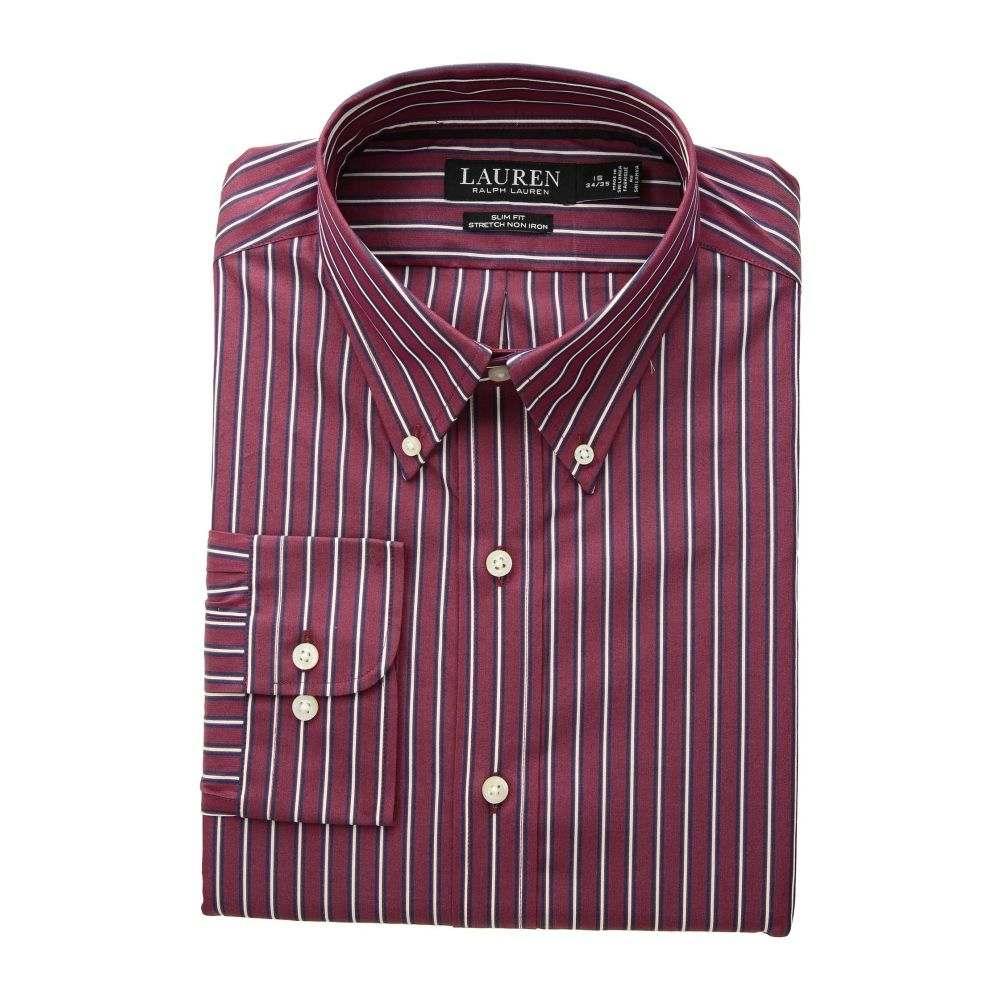 ラルフ ローレン LAUREN Ralph Lauren メンズ トップス シャツ【Slim Fit No-Iron Multi-Stripe Poplin Dress Shirt】Merlot/Navy