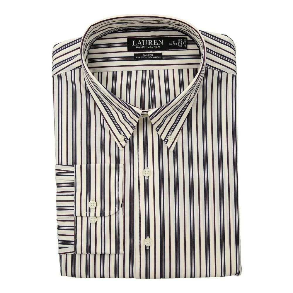 ラルフ ローレン LAUREN Ralph Lauren メンズ トップス シャツ【Slim Fit No-Iron Multi-Stripe Poplin Dress Shirt】Wine/Bone