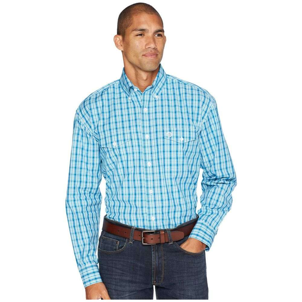 ラングラー Wrangler メンズ トップス シャツ【George Strait Long Sleeve Button Plaid】Teal/White