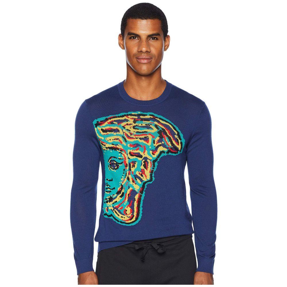ヴェルサーチ Versace Collection メンズ トップス ニット・セーター【Reverse Weave Medusa Sweater】Blue/Multi