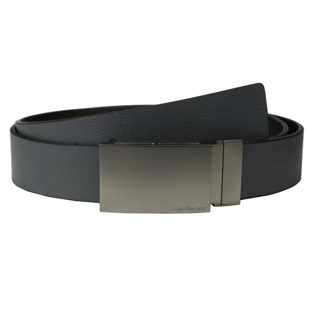 カルバンクライン Calvin Klein メンズ ベルト【38MM Reversible Flat Strap Smooth/Leather w/ Embossed Lines】Grey Black