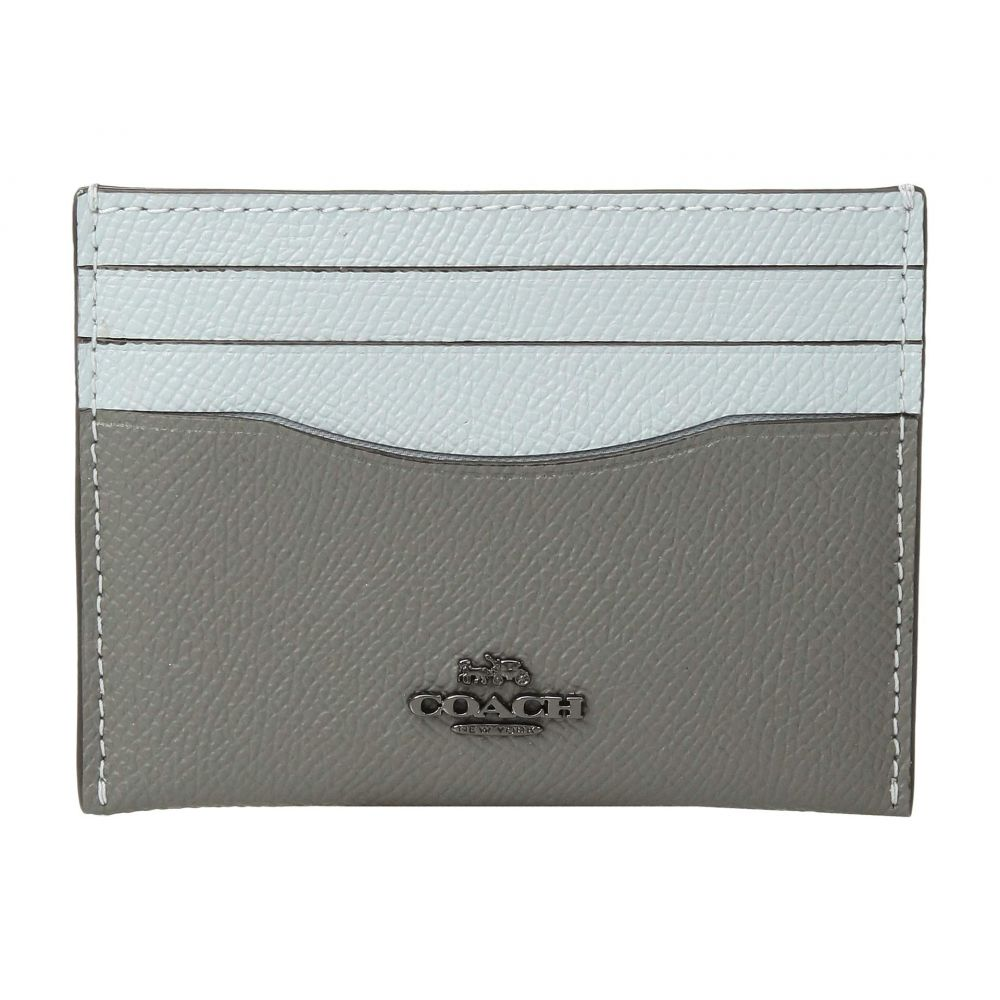 コーチ COACH レディース カードケース・名刺入れ【Flat Card Case in Color Block Leather】Dk/Heather Grey Multi