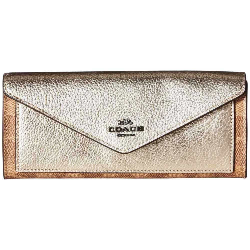 コーチ COACH レディース 財布【Metallic Color Block Coated Canvas Signature Soft Wallet】V/Tan Platinum