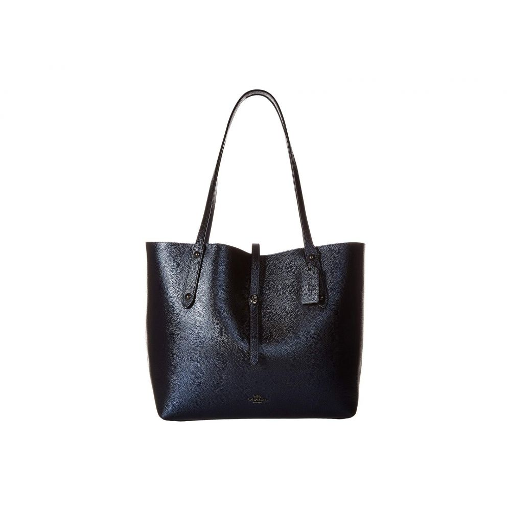 コーチ COACH レディース バッグ トートバッグ【Metallic Leather Market Tote】Gunmetal/Metallic Blue