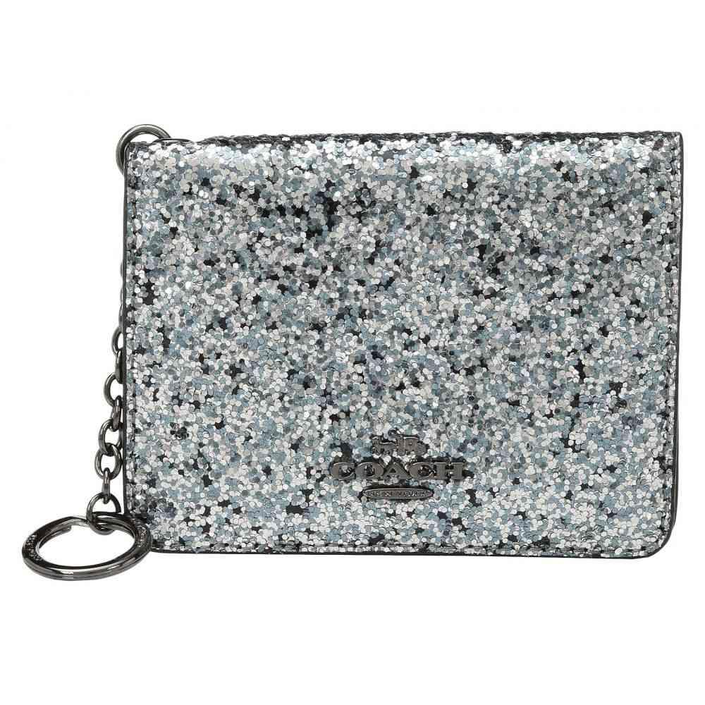 コーチ COACH レディース カードケース・名刺入れ【Glitter Key Ring Card Case】GM/Metallic Graphite