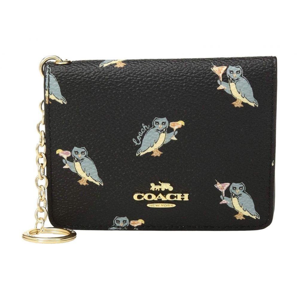 コーチ COACH レディース カードケース・名刺入れ【Owl Print Key Ring Card Case】GD/Black