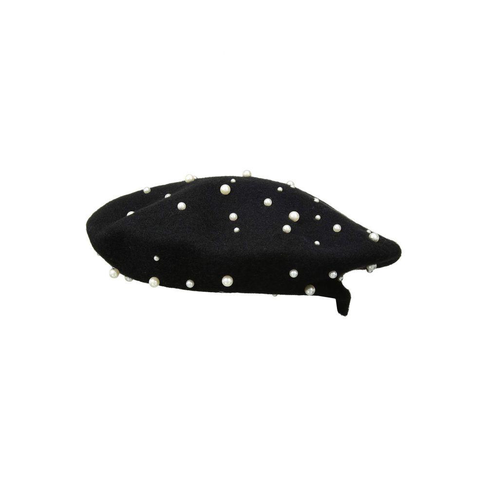 スカラ SCALA レディース 帽子【Wool Beret with Pearls】Black