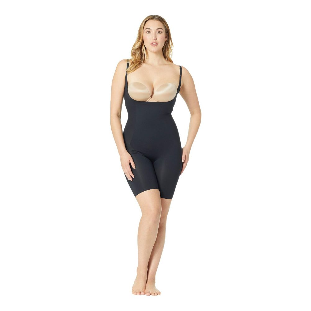 スパンクス Spanx レディース インナー・下着【Plus Size Thinstincts Open-Bust Midthigh Bodysuit】Very Black