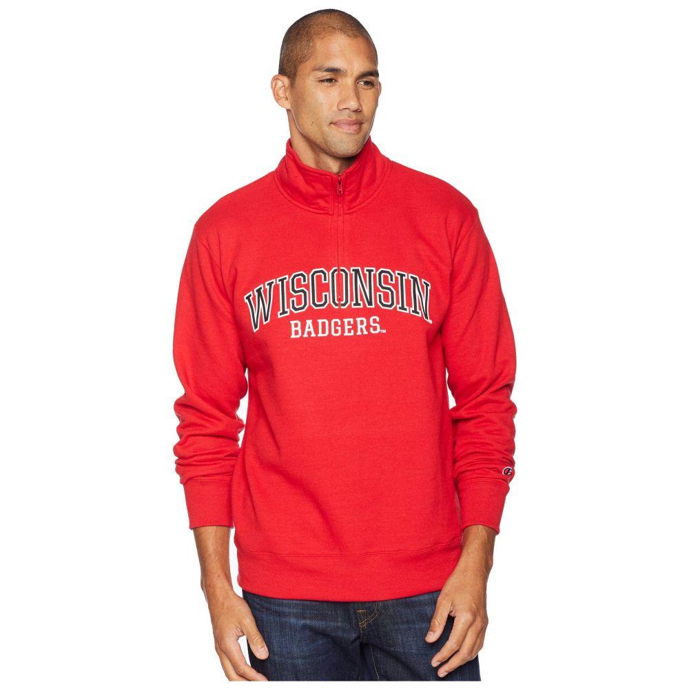 チャンピオン Champion College メンズ トップス【Wisconsin Badgers Powerblend 1/4 Zip】Scarlet