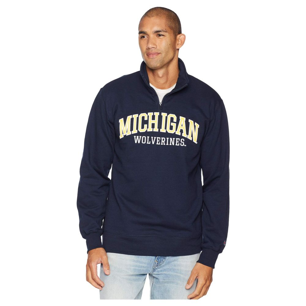チャンピオン Champion College メンズ トップス【Michigan Wolverines Powerblend 1/4 Zip】Navy