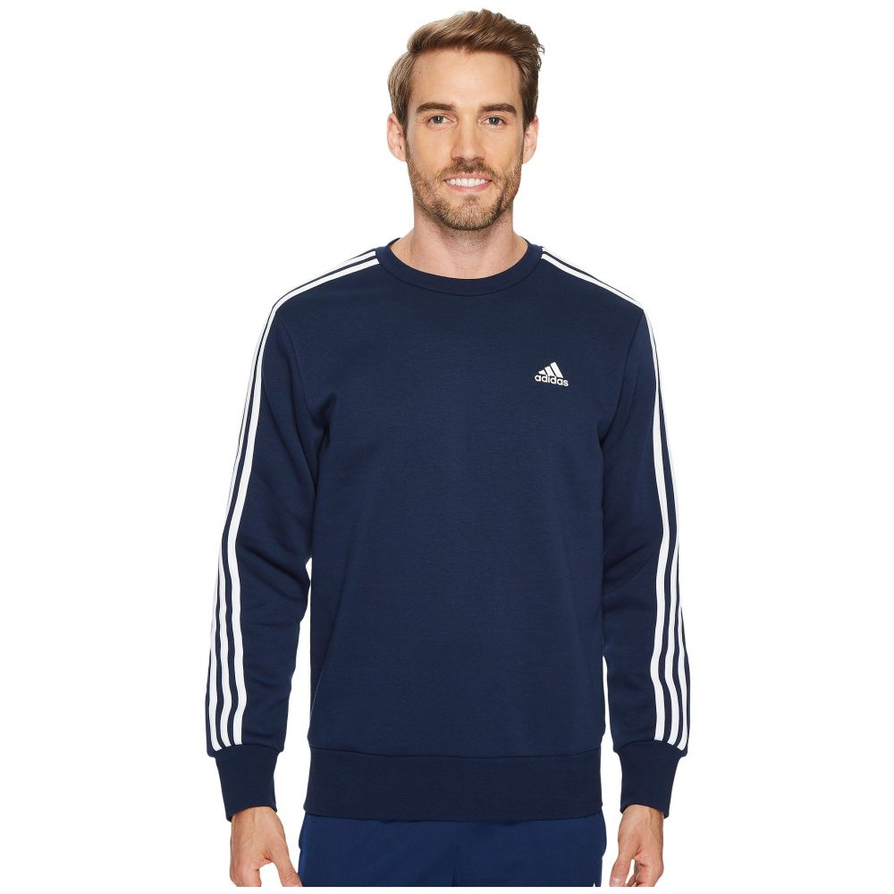 アディダス adidas メンズ トップス フリース【Essentials 3S Brushed Fleece Crew】Collegiate Navy/White