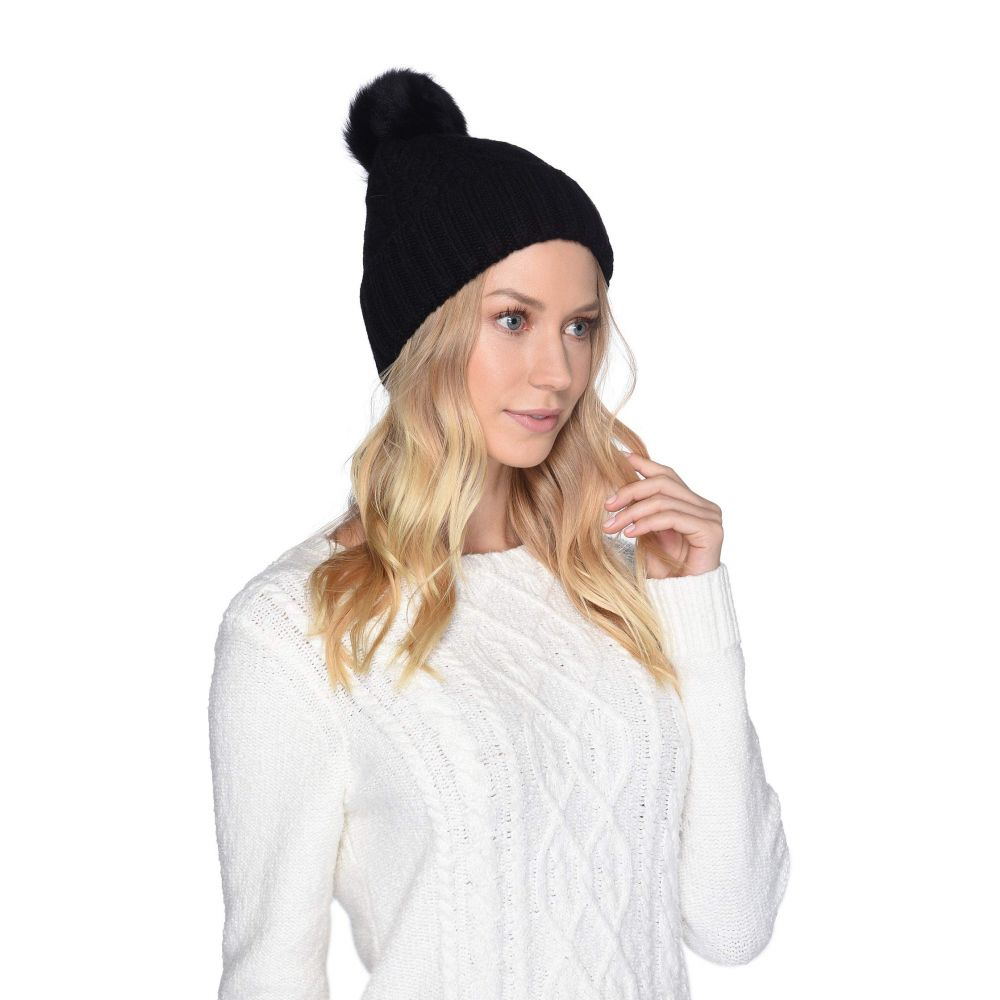 アグ UGG レディース 帽子 ニット【Cable Knit Pom Beanie】Black