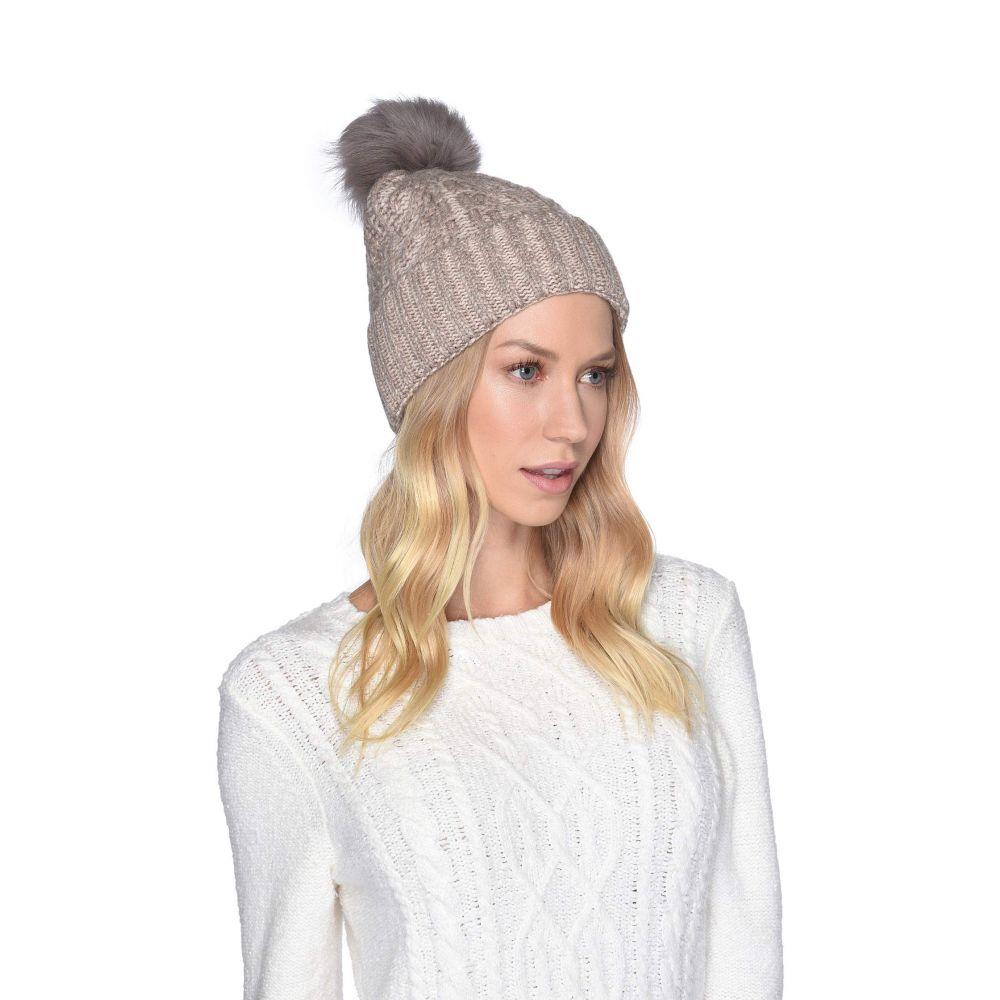 アグ UGG レディース 帽子 ニット【Cable Knit Pom Beanie】Stone Heather Multi Plaited