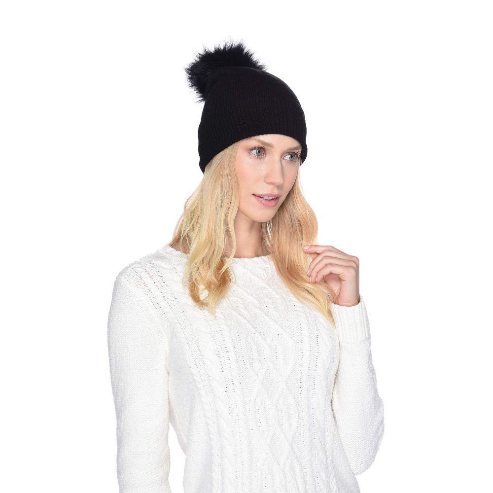 アグ UGG レディース 帽子 ニット【Luxe Knit with Sheepskin Pom Hat】Black