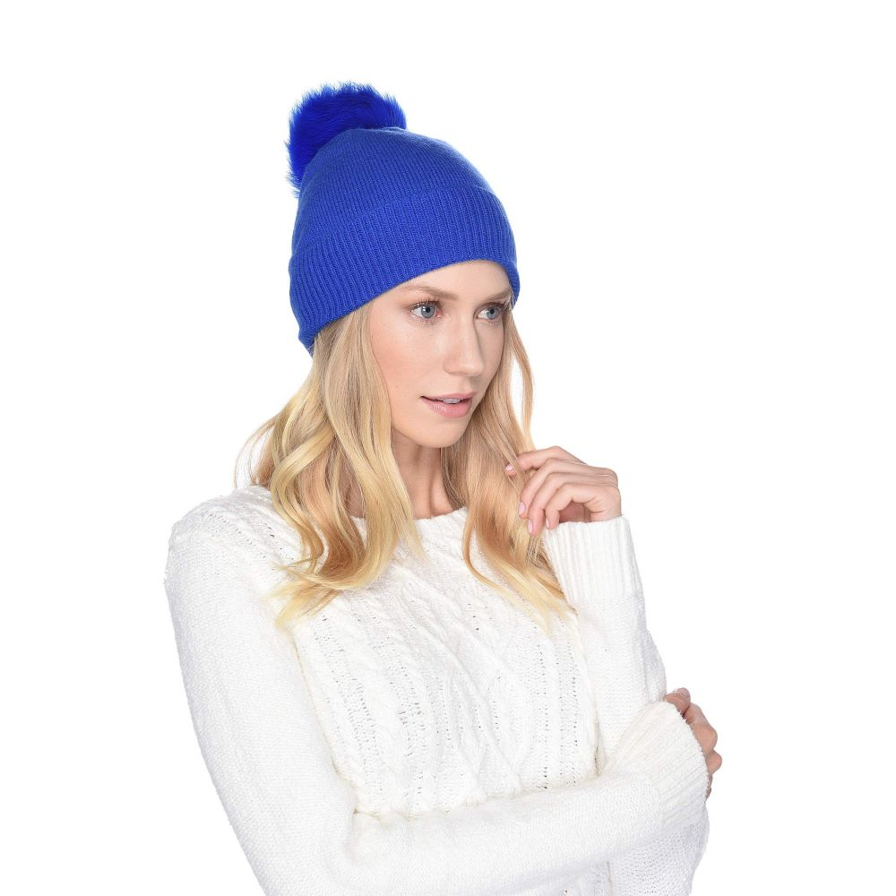 アグ UGG レディース 帽子 ニット【Luxe Knit with Sheepskin Pom Hat】Electric Blue