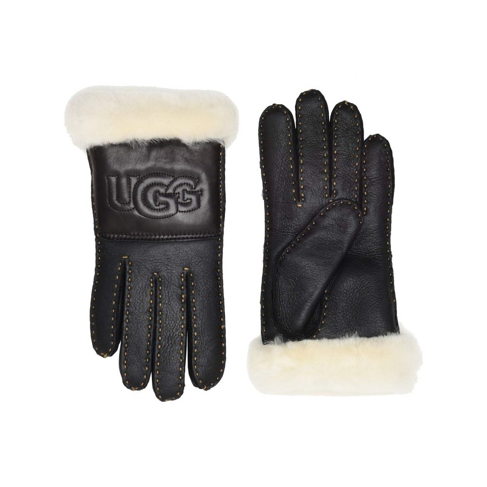 アグ UGG レディース 手袋・グローブ【Water Resistant Sheepskin Logo Gloves】Black Leather