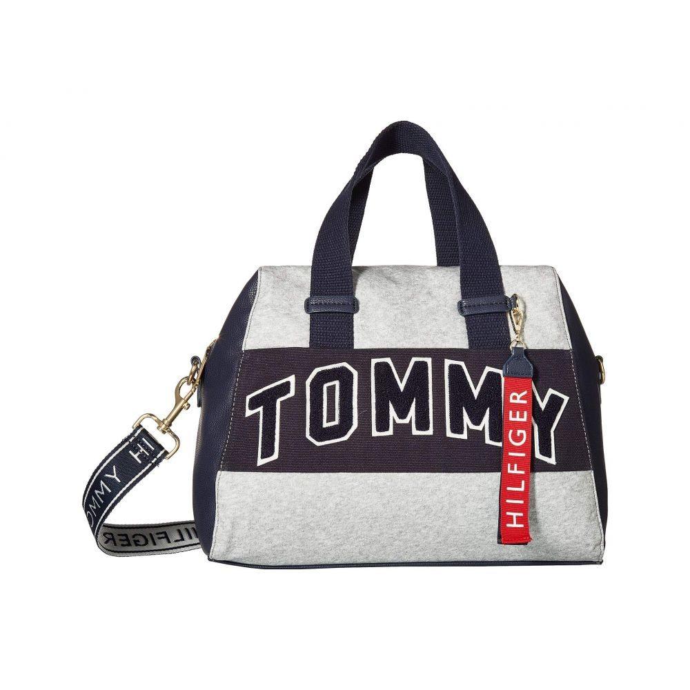 トミー ヒルフィガー Tommy Hilfiger レディース バッグ ハンドバッグ【Tommy Patches Canvas Coated Fleece Satchel】Navy/Grey