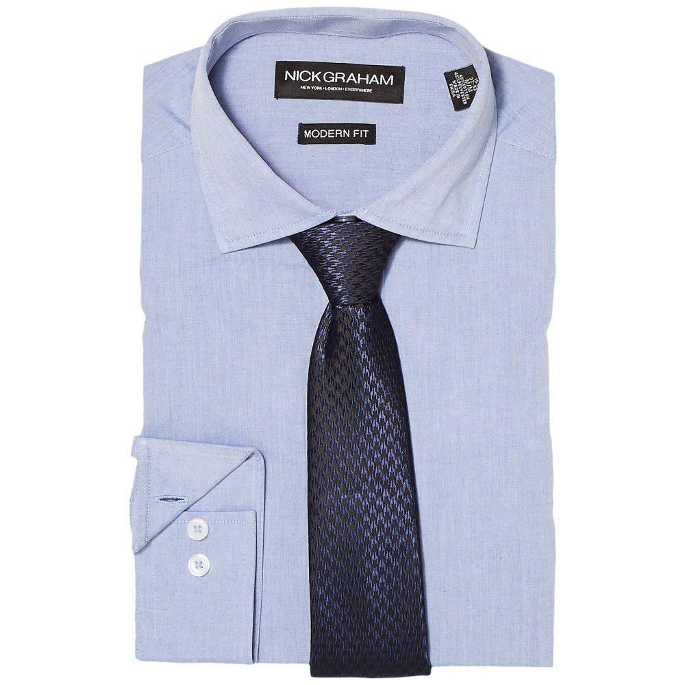 ニック グラハム Nick Graham メンズ トップス シャツ【Chambray Shirt with Tie】Blue