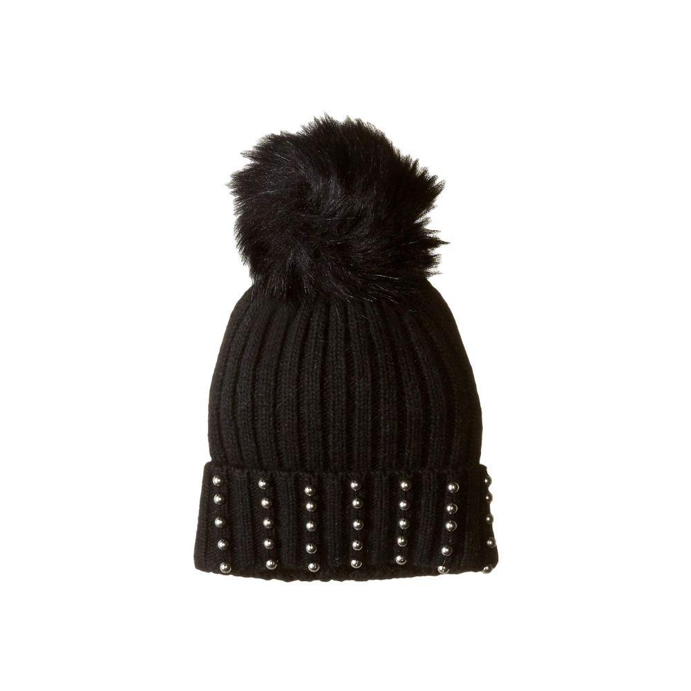 ハットアタック Hat Attack レディース 帽子 ニット【Silver Stud Beanie with Faux Fur】Black