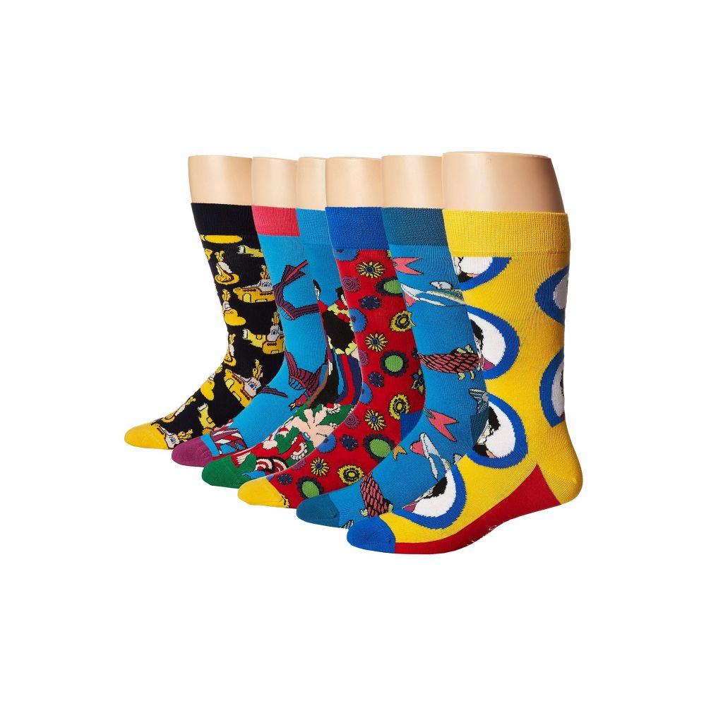 ハッピーソックス Happy Socks レディース インナー・下着 ソックス【Beatles 50th Anniversary LP Collector's Box 6-Pack】Blue Combo