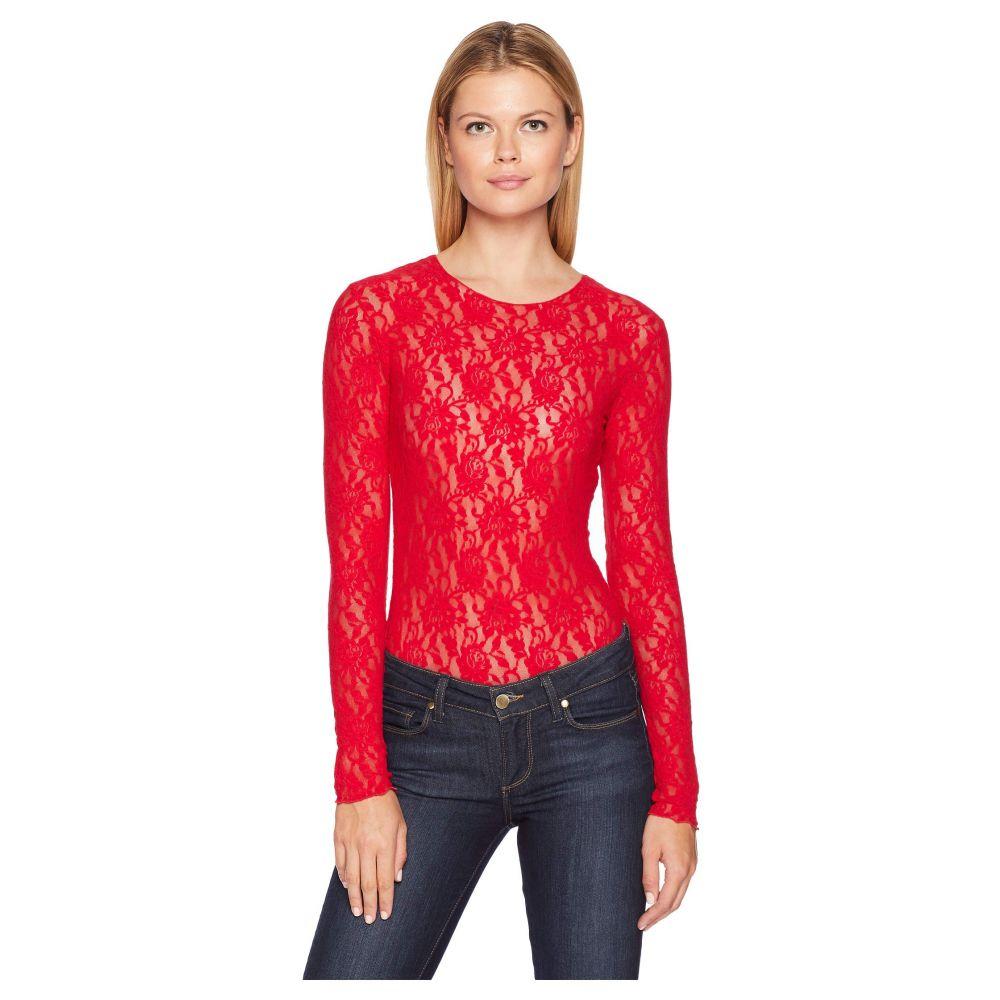 ハンキーパンキー Hanky Panky レディース インナー・下着 ボディースーツ【Lace Long Sleeve Bodysuit】Red
