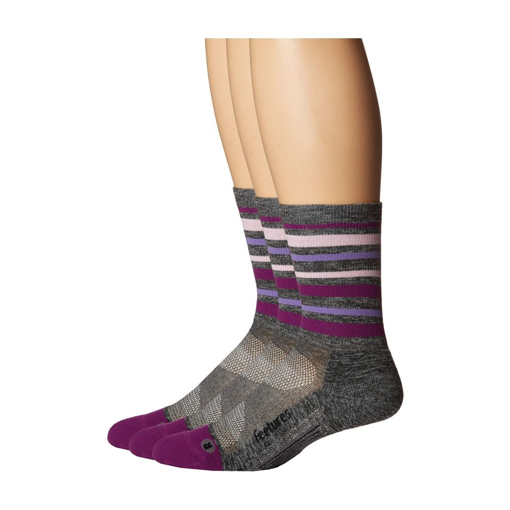 フィーチャーズ Feetures レディース インナー・下着 ソックス【Elite Light Cushion Mini Crew 3-Pair Pack】Stripes Violet