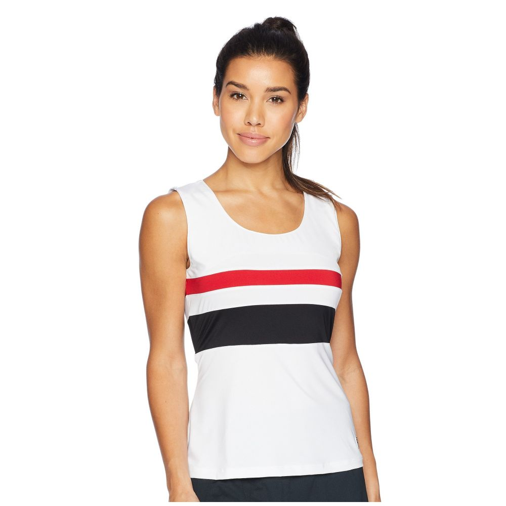 フィラ Fila レディース テニス トップス【Heritage Tennis Full Coverage Tank Top】White/Crimson/Black